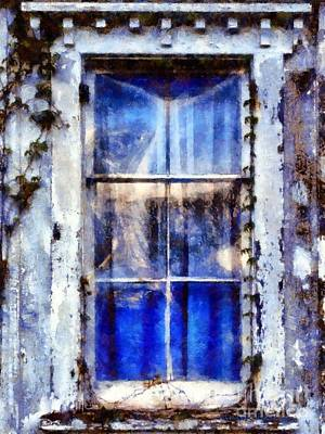 Photograph - Old Blue Window by Janine Riley
