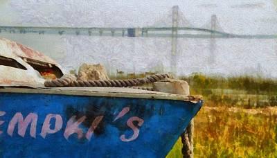 Suspension Bridge Painting - Old Boat And Mackinac Bridge by Dan Sproul