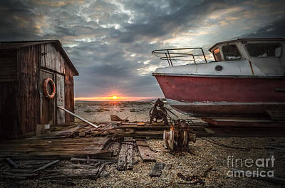 Old Boat At Sunset Art Print by Ivor Toms