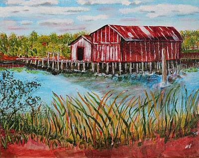 Art Print featuring the painting Old Boat House On Causeway by Melvin Turner