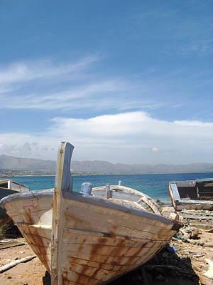 Hydra Island Photograph - Old Boat On Hydra Island Greece by Daniel  Taylor