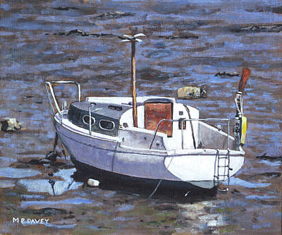 Painting - Old Boat On River Mudflats 1 by Martin Davey