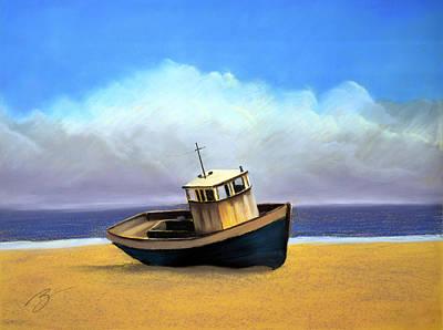 Old Boat - Pastel Art Print by Ben Kotyuk