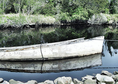 Rowboat Digital Art - Old White Boat by Patricia Januszkiewicz