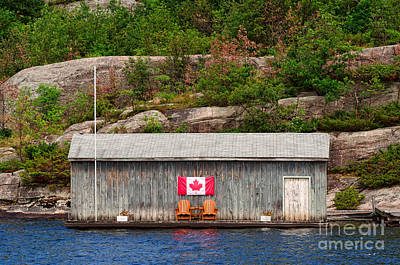 Photograph - Old Boathouse With Two Muskoka Chairs by Les Palenik