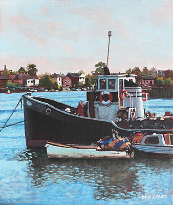 Painting - Old Boats Moored At St Denys Southampton by Martin Davey