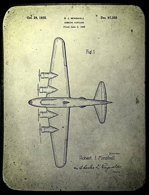 Airplane Mixed Media - Old Bombing Aircraft Patent by Dan Sproul