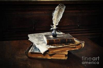 Wood Desk Photograph - Old Books And A Quill by Mary Machare