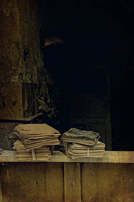 Old Plank Tables Photograph - Old Books by Jaroslaw Blaminsky