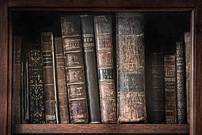 Photograph - Old Books On The Shelf - 19th Century Library by Gary Heller