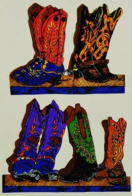Art Print featuring the drawing Old Boots by Celeste Manning