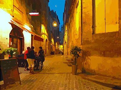 Old Bordeaux By Night Art Print by Bishopston Fine Art