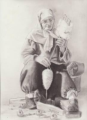 Handcrafted Drawing - Old Bosnian Woman by Refik Osmanagic