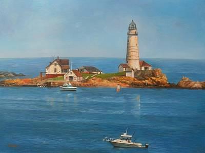 Boston Harbor Islands Painting - Old Boston Lighthouse by Steve Wilson
