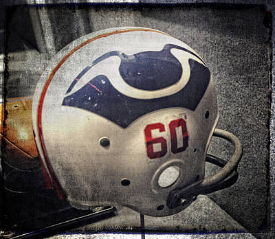 Gillette Stadium Photograph - Old Boston Patriots Football Helmet by Mike Martin