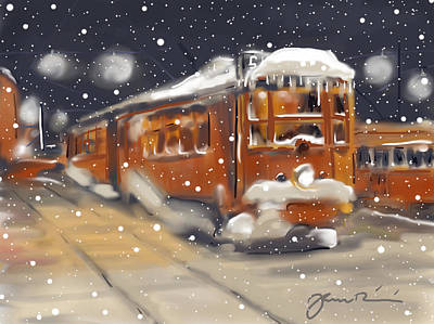 Old Boston Trolley In The Snow Art Print by Jean Pacheco Ravinski