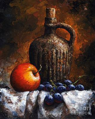 Blue And Red Painting - Old Bottle And Fruit by Emerico Imre Toth