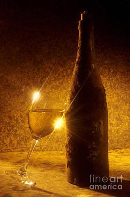 Old Bottle Of  Wine With A Glass Print by Bernard Jaubert