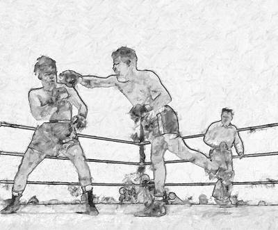 Punching Painting - Old Boxing Old Time by John Farr