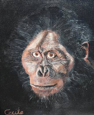 Ape. Great Ape Painting - Old Boy by Cecile Fortier