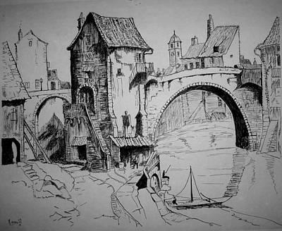 Old Bridge Art Print by Maxwell Mandell