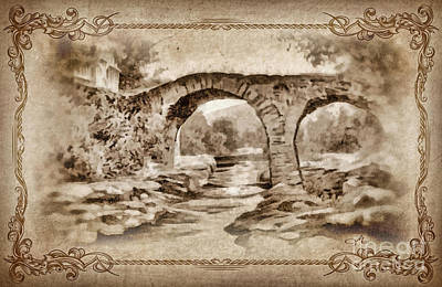 Serenity Scenes Painting - Old Bridge by Mo T