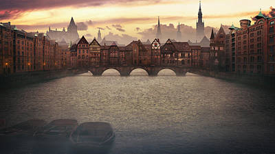Hamburg Digital Art - Old Bridge by Tobias Roetsch