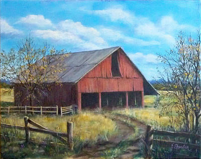 Old Barns Painting - Old Broemmelsiek Barn by Edward Farber