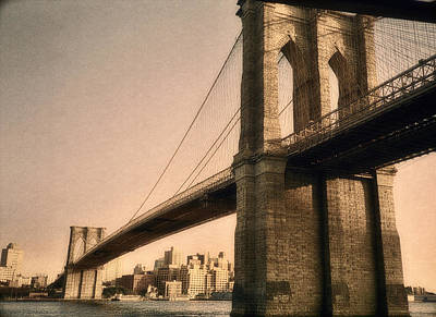 East River Photograph - Old Brooklyn Bridge by Joann Vitali