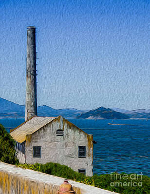 Digital Art - Old Building At Alcatraz Island Prison by Kenneth Montgomery