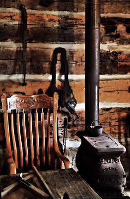 Old Wood Burning Stove Photograph - Old Cabin And Wood Burning Stove by Dan Sproul