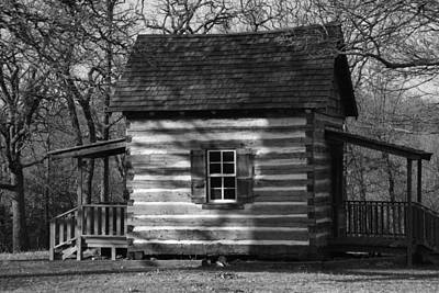 Photograph - Old Cabin At Fort Washita In Bw by Robyn Stacey