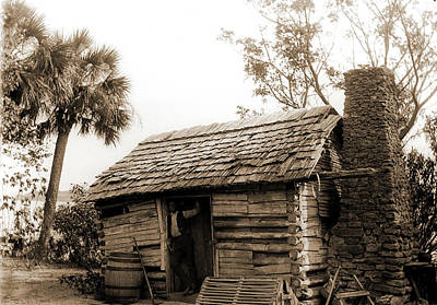 Creek Drawing - Old Cabin At Turkey Creek, Log Cabins, African Americans by Litz Collection