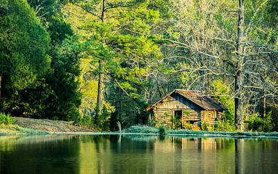 Old Log Cabin Photograph - Old Cabin By The Pond by Parker Cunningham