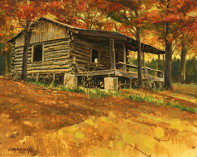 Nature Scene Painting - Old Cabin In Autumn by Don  Langeneckert
