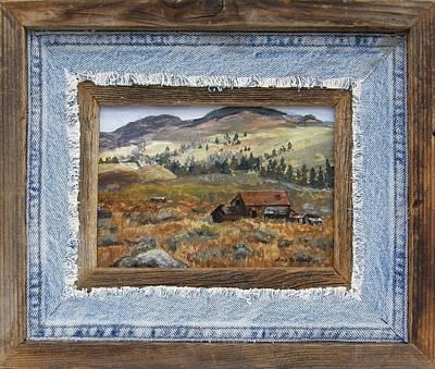 Landscape Painting - Old Cabin Framed by Lori Brackett