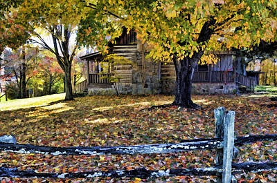 Split Rail Fence Photograph - Old Cabin In Autumn by Kenny Francis