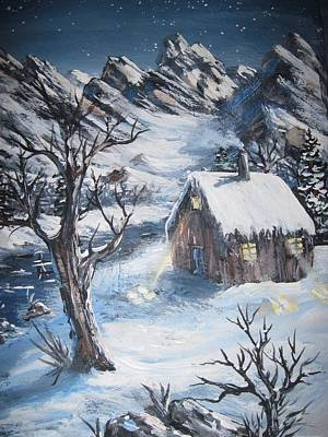 Art Print featuring the painting Old Cabin by Megan Walsh