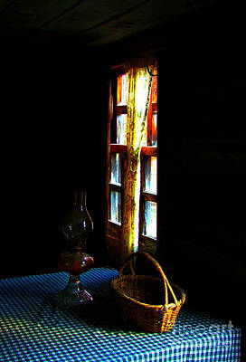 Checked Tablecloths Photograph - Old Cabin Table With Lamp And Basket by Julie Dant