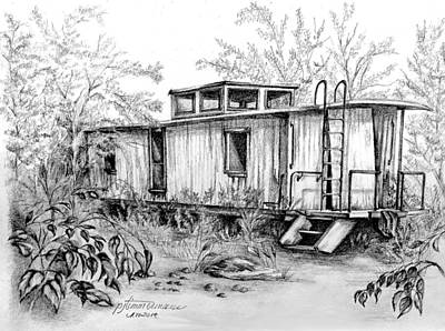 Caboose Drawing - Old Caboose by PJ Timmermans