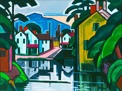 City Scape Digital Art - Old Canal Port by Oscar Bluemner