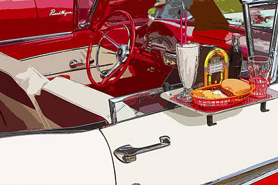 American Food Digital Art - Old Car At Drive In Restaurant by Keith Webber Jr