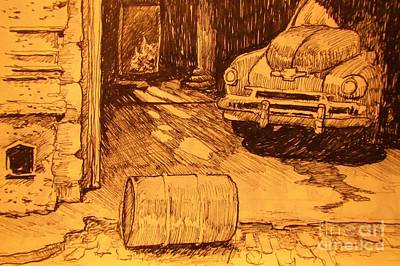 Fire Truck Drawing - Old Car In Garage by John Malone