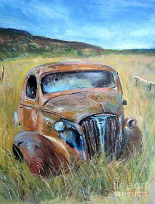 Art Print featuring the painting Old Car by Jieming Wang