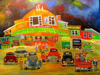 Montreal Icon Painting - Old Car Meeting At The Orange Julep by Michael Litvack