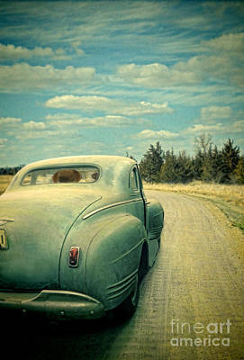 Old Car On Dirt Road Art Print