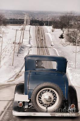 Telephone Poles Photograph - Old Car On Snowy Rural Road by Jill Battaglia