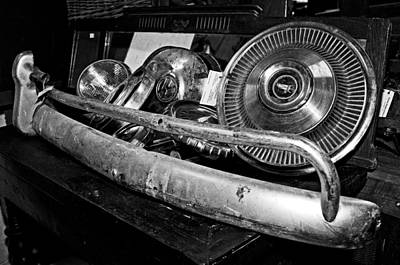 Photograph - Old Car Parts In Black-and-white by Andy Crawford