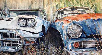 Painting - Old Cars by Lance Wurst