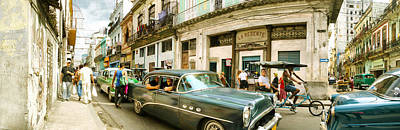 Medium Group Of People Photograph - Old Cars On A Street, Havana, Cuba by Panoramic Images
